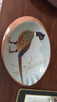 Beige and brown bird painted decorative plate