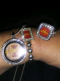 Iowa State necklace, ring, braclet