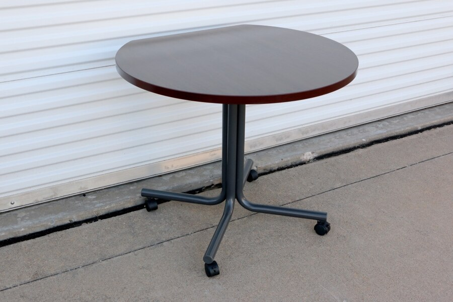 Photo Hon Round Cherrywood Rolling Table w/ Wall Cutout & Metal Legs