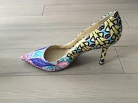 pair of blue and pink floral platform stilettos Toronto