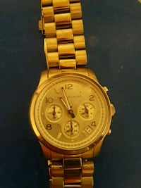 round gold chronograph watch with link bracelet Eugene, 97402