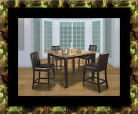 Marble tall table with 4 leather chairs 53 km