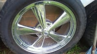 chrome 5-spoke car wheel with tire Forest Park, 30297