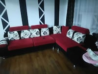 red and black sectional couch