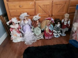 14 antique porcelain dolls passed down from grandparents to my daughte