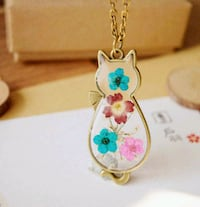 New real dried flower in glass cat pendant Montreal, H8T