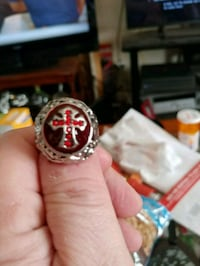 316L stainless Steel vintage Ruby cross ring size  Salem, 01970