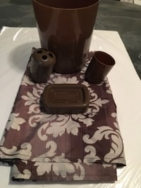 Brown Shower curtain trashcan cup and toothbrush holder set LONGBEACH
