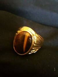 Men size 8 gold plated tiger eye looking stone Virginia Beach, 23451