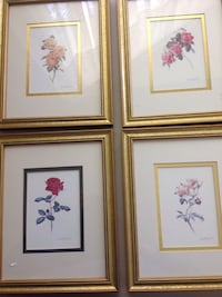"""Set of Four Floral Picture in Frames 8"""" X 10"""" Each Centereach, 11720"""