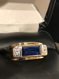 silver sapphire and diamond studded ring