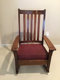 brown wooden frame red padded armchair Potomac, 20854