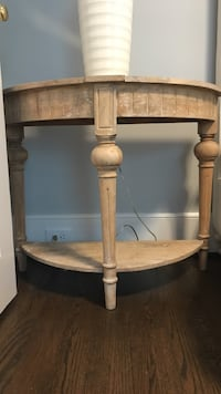 Wood demilune side table