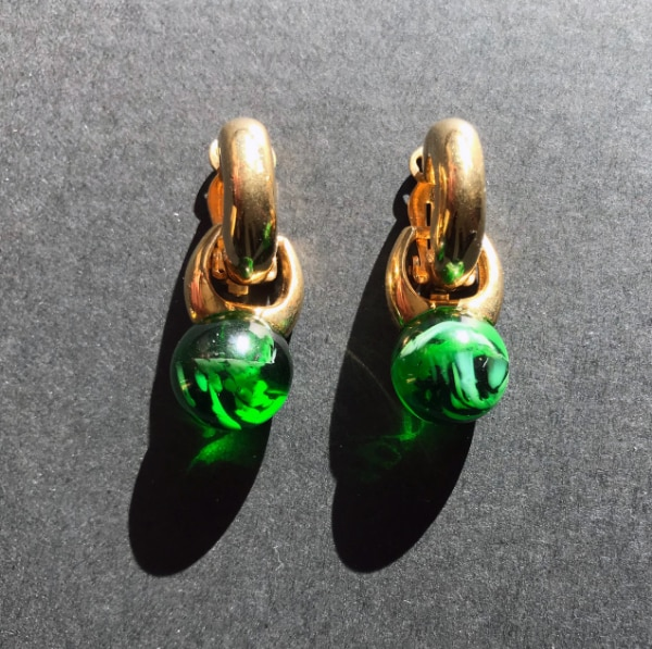 Gold plated earings with green stone