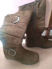 pair of brown suede knee-high boots 56 km
