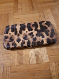 brown and black leopard print leather case