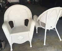 two white wicker armchairs and table Palm Beach Gardens, 33410