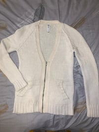 Aeropostale Creamy White Zip up Cardigan