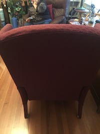 brown wooden framed brown padded chair Lexington