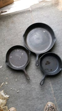 Cast iron frying pans. Set of 3. Five inch, six inch and 10 inch. Portsmouth, 23704
