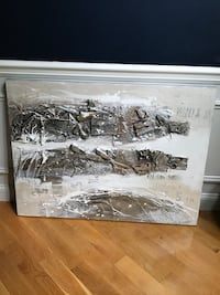 Abstract Painting - Contemporary - Silver and Off White tones  Smithfield, 02917