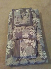 grey and black floral bedspread and two bed pillows Virginia Beach, 23455
