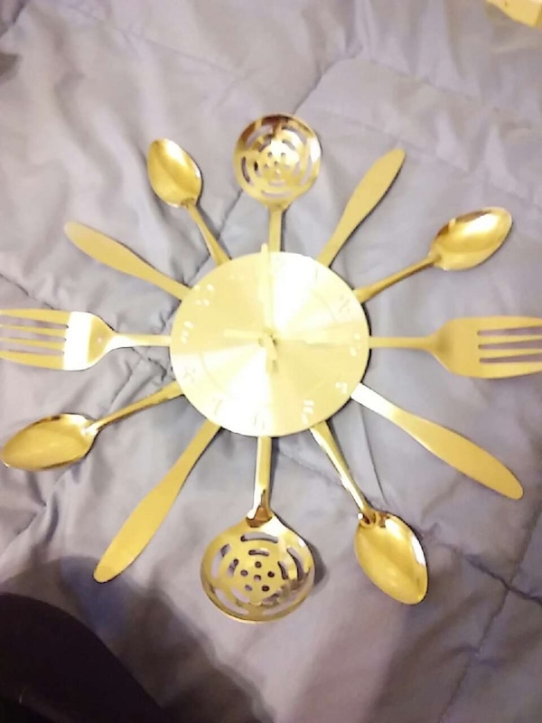 Used Silver Kitchen Set Themed Wall Clock For Sale In Baraboo Letgo