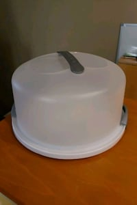 Cake or cupcake saver with handle (container)
