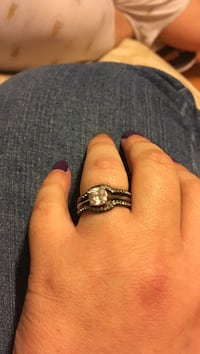 Silver and black engagement ring