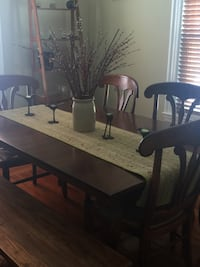 Rectangular brown wooden table with six chairs dining set Boston, 02134