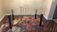 Rectangular brown glass and wooden coffee table Edmonton, T5B 3J1