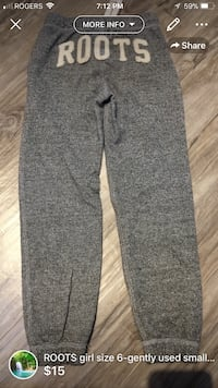 Roots sweatpants size 6-small tiny hole otherwise good condition retail close to 55$  London, N5W 6E3