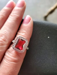 Sterling silver and Ruby ring with diamond accents