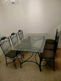 Glass table + 6 chairs