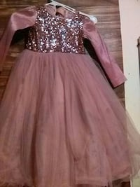 pink and gray glittered scoop-neck long-sleeve ruffled dress National City, 91950