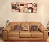 Beige leather sofa - camel brown- super comfortable Ashburn, 20147