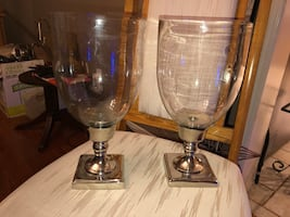 BEAUTIFUL PAIR OF SILVER GLASS CANDLE HOLDERS