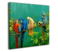 "Colorful Parrots On A Tree Gallery Wrapped Canvas Print 20"" x 16"" - New! Plainfield, 60544"