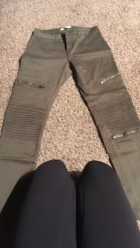 Army green with silver zippers