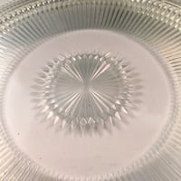 """A117 Clear glass cake plate , """"12"""", 2.13lbs. small chip Glendale"""