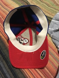 red, blue, and gray Super Mario print fitted cap