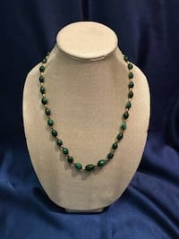 6 Different Antique MALACHITE, AMBER, & Other Necklaces For Sale 2273 mi