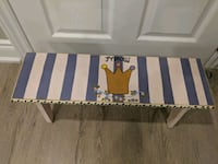 white and blue wooden stool
