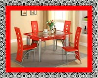 Glass red dining table with leather chairs McLean