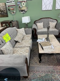 gray and black floral sofa set
