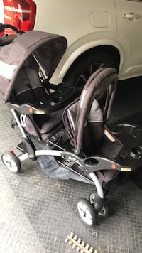 baby's black and gray tandem stroller Gambrills, 21054