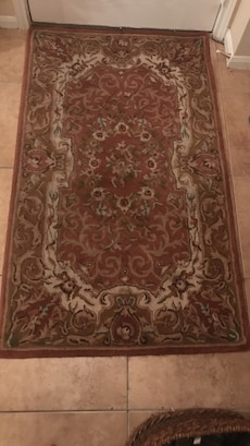 Red White And Black Floral Area Rug In Harker Heights