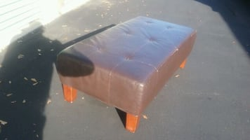 Large Brown Leather Like Bench