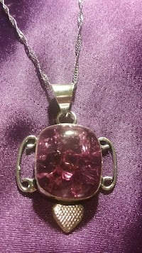 silver and pink gemstone pendant necklacee
