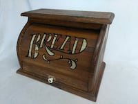 1950's Vintage Distressed Roll-Front Bread Box   Caldwell